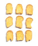 Small biscuit. Was put in row on white background Stock Photo