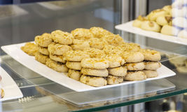 Small biscuits  in a pastry shop Stock Photos