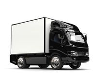 Small black box truck. Isolated on white background Royalty Free Stock Images