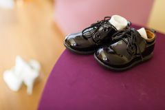 Small black elegant child's court shoes. Royalty Free Stock Photo