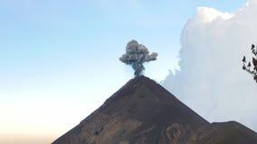 Small Black Eruption o the Vulcan. Watching of Acatenango Volcano erupting, big black cloud of smoke stock footage