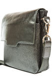 Small black leather bag men Royalty Free Stock Image