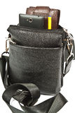 Small black leather bag men Royalty Free Stock Photo