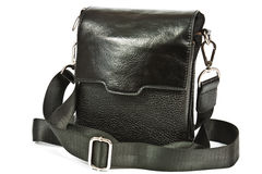 Small black leather bag men Royalty Free Stock Photography