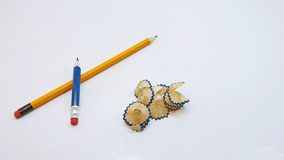 Small black pencil with shavings Royalty Free Stock Image