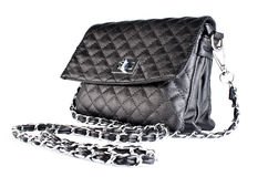 Small black quilted bag ladies Stock Images