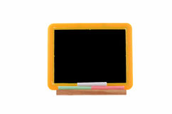 Small blackboard. With chalk on white background with room for text Stock Photo