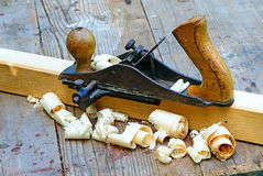 Small Block Plane and Wood Royalty Free Stock Photos