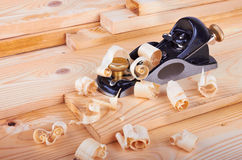Small Block Plane and Wood with shavings Stock Photo