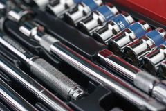 Small block wrench packed in red box Stock Photo