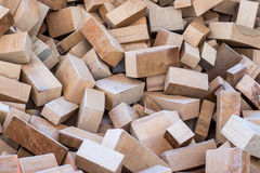 Small blocks of wood in a pile Royalty Free Stock Photos