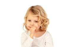 Small blond child bitting his nails Royalty Free Stock Photos
