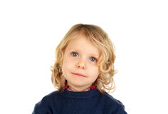 Small blond child with four years. Isolated on a white backgound Royalty Free Stock Photo