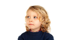 Small blond child with four years. Isolated on a white backgound Royalty Free Stock Images