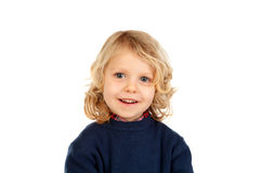 Small blond child with four years. Isolated on a white backgound Stock Photo
