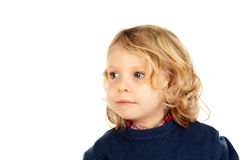 Small blond child with four years. Isolated on a white backgound Stock Photography