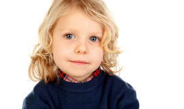 Small blond child with four years. Isolated on a white backgound Royalty Free Stock Photos