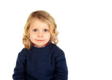 Small blond child with four years. Isolated on a white backgound Royalty Free Stock Photography