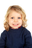 Small blond child with four years. Isolated on a white backgound Stock Images