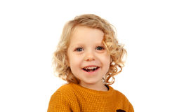 Small blond child with four years. Isolated on a white backgound Royalty Free Stock Image