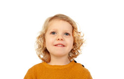Small blond child with four years. Isolated on a white backgound Stock Photos