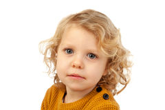 Small blond child with four years. On a white backgound Royalty Free Stock Photos