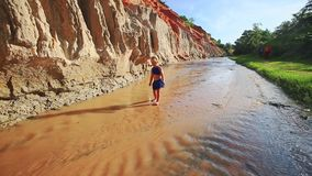Small Blond Girl Walks Backward in Stream Shallow Water. Little girl in blue plays walks backward in shallow Fairy stream between steep sand cliff and low green stock footage
