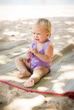 Small blonde baby girl Stock Images