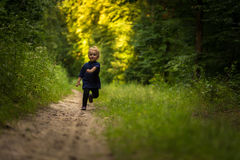 Small blonde boy playing in forest Stock Image
