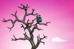 Small blue bird in the tree. 3d illustration. Blue bird perching in the dead tree. 3d illustration Royalty Free Stock Photos