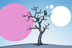 Small blue bird in the tree. 3d illustration Stock Photos