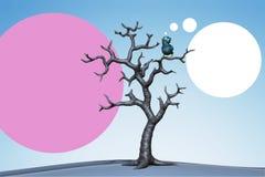Small blue bird in the tree. 3d illustration. Blue bird perching in the dead tree. 3d illustration Stock Photos