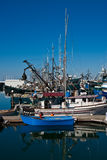 Small Blue Boat by Many Fishing Boats Royalty Free Stock Images