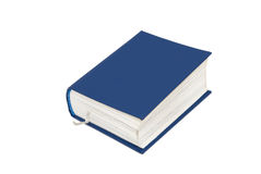 Small blue book. Pocket edition thick blue book with white string bookmark against white background royalty free stock image
