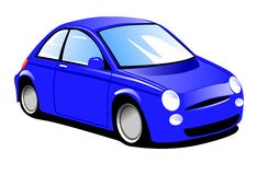 Small Blue Car. Illustration of a small blue town car Stock Photos
