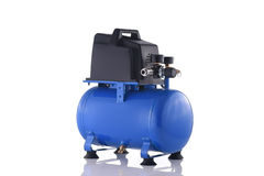 Small blue compressor side view isolated on white Royalty Free Stock Photo