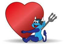 Small blue devil holding a Valentine heart Stock Photo