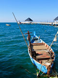 Small blue fishing boat Stock Images