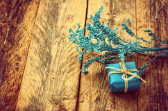 Small blue gift box and branch Stock Images