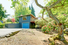 Small blue house with garage and large front yard with trees, Stock Photography