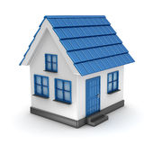 Small blue house model. This is a computer generated and 3d rendered picture Royalty Free Stock Images