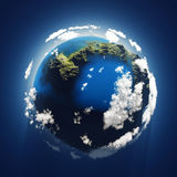 Small blue planet, aerial view vector illustration