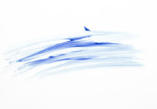 Small of blue stroke paint brush on white paper. Royalty Free Stock Photography
