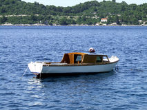 Small boat. On sea stock photo