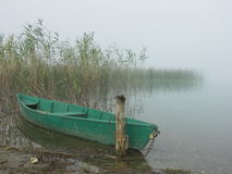 Small boat. Green boat, lake and reed Royalty Free Stock Photos
