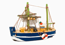 Small boat. Small wooden fishing boat with lifebuoy Royalty Free Stock Image