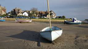 Small boat in Alnmouth on the River Aln estuary Royalty Free Stock Photos