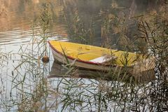 Small boat anchored on a lake in the reeds Stock Image