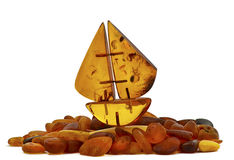 Small boat of Baltic amber Royalty Free Stock Images