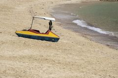 Small boat on the beach. Small boats on the beach Because the sea water decreases Sandy beach at Sairee Beach, Chumphon Province